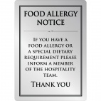 Food allergy sign silver A4