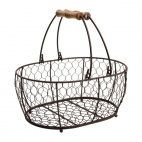 T&G Provence Wire Oval Basket w/ Handles Brown