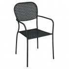 GG672 Black Steel Patterned Bistro Armchairs (Pack of 4)