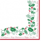 GE909 Holly and Ivy Christmas Napkin 2ply 40x40cm