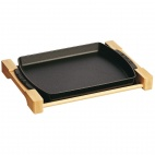 Cast Iron Dish with Wooden Board