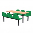 Six Seater Side Access Canteen Unit Beech and Green