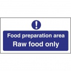 L846 Food Preparation Area Raw Food Only Sign