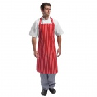 A532 Bib Apron - Red and White Stripe
