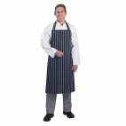 A530 Butchers Bib Apron - Navy Stripe