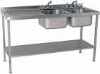 SINKD1560DBL 1500mm Double Bowl Sink With Single Left Drainer