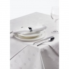CE491 Damask Ivy Leaf White Tablecloth