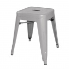 DL875 Silver Grey Steel Bistro Low Stool (Pack of 4)