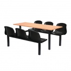 Six Seater Side Access Canteen Unit Beech and Black
