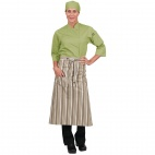A610 Chef Works Bistro Apron - Lime/White/Brown Stripe