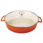 Round Shallow Casserole Dish Orange 3.5L