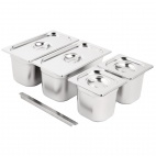 Stainless Steel Gastronorm Set 2x 1/3  2 x 1/6 with Lids