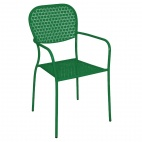 Garden Green Patterned Steel Bistro Armchairs (Pack 4)