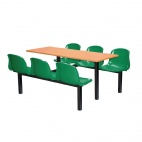 Six Seater Dual Access Canteen Unit Beech and Green - DM422