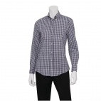 Womens Dress Shirt Dark Navy Gingham L
