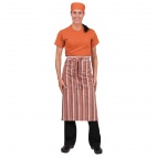 A608 Chef Works Bistro Apron - Orange/White/Brown Stripe