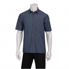 Urban Detroit Striped Short Sleeve Denim Shirt Blue L