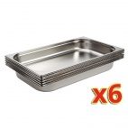 Stainless Steel 1/1 Gastronorm Pans 65mm Set of 6