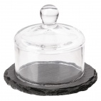 Slate Tray with Glass Cloche