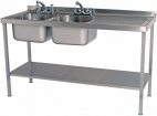 SINKD1560DBR 1500mm Double Bowl Sink With Single Right Drainer