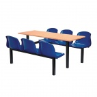 Six Seater Side Access Canteen Unit Beech and Blue