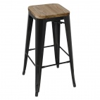 Black Steel Bistro High Stools with Wooden Seatpad (Pack of 4)