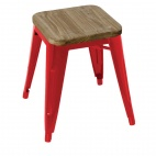 Red Steel Bistro Low Stools with Wooden Seatpad (Pack of 4)