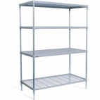 4 Tier Nylon Coated Wire Shelving on Castors 1825x 875x 591mm