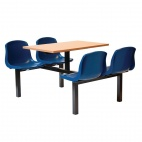 Four Seater Dual Access Canteen Unit Beech and Blue - DM410
