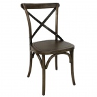 Wooden Dining Chair with Metal Cross Backrest (Pack of 2)