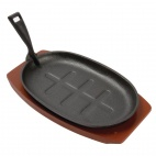 CC310 Cast Iron Oval Sizzler with Wooden Stand