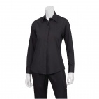 Womens Long Sleeve Dress Shirt Black L