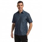 Detroit Denim Short Sleeve Shirt Blue XS