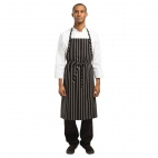 B248 Premium Woven Apron Black and White Stripe