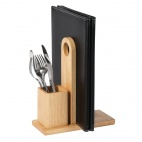 Wooden Menu Holder with Cutlery Pot