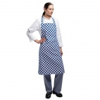A554 Bib Apron - Blue and White Check