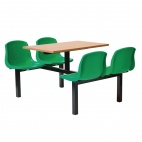 Four Seater Dual Access Canteen Unit Beech and Green - DM420