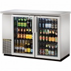 TBB-24-48G-S-LD Double Door Hinged Back Bar Bottle Cooler -  288 x 330ml Cans