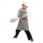B073 Childrens Bib Apron - Big Black and White Check