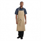 Urban Austin Denim Wide Bib Apron Natural - BB006