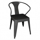 DL883 Black Steel Bistro Armchair (Pack of 4)