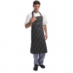A935 Butchers Bib Apron - Black Stripe