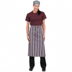 A609 Chef Works Bistro Apron - Merlot/Grey/White Stripe