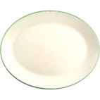 Green Dapple Oval Coupe Dishes 255mm