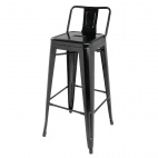 DL882 Black Steel Bistro High Stool with Back Rest (Pack of 4)