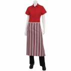 Bistro Apron Red Grey and Black Stripe